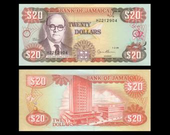 Jamaica, P-72e, 20 dollars, 1995