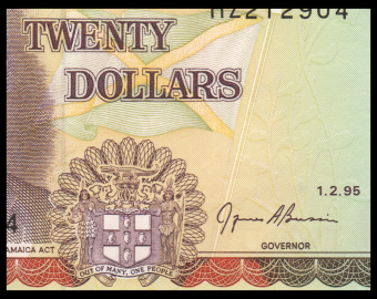 Jamaica, P-72e, 20 dollars, 1995, Presque Neuf / a-UNC