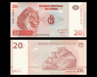 Congo, P-088A, 20 francs, 1997