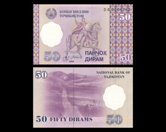 Tadjikistan, P-13a, 50 diram, 1999