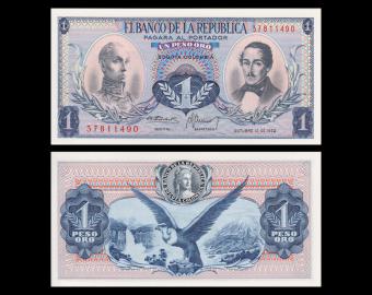 Colombia, P-404e, 1 peso oro, 1973