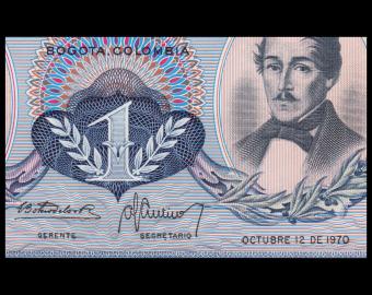 Colombia, P-404e, 1 peso oro, 1970