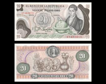 Colombia, P-409d, 20 pesos oro, 1982
