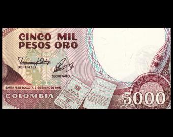 Colombia, P-436A, 5000 pesos oro, 1992