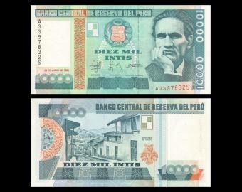 Peru, p-140, 10000 intis, 1988