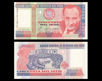 Peru, p-142, 50000 intis, 1988