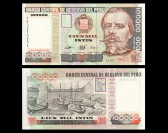 Peru, P-145, 100 000 intis, 1989