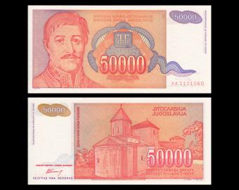 Yougoslavie, P-142, 50 000 dinara, 1994