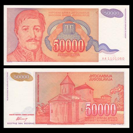 Yugoslavia, P-142, 50 000 dinara, 1994