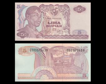 Indonesia, P-104, 5 rupiah, 1968