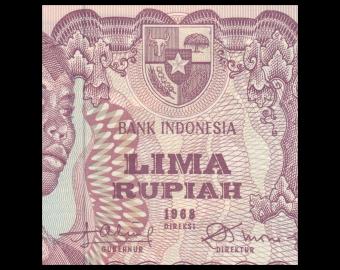 Indonésie, P-104, 5 rupiah, 1968