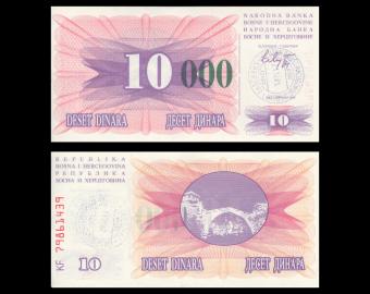 Bosnia and Herzegovina, P-53g, 10000 dinara, 1993