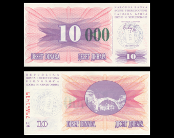 Bosnie-Herzégovine, P-53g,10 000 dinara, 1993