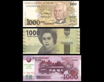 Lot 3 banknotes of 1000 : N*rth K*re*-Brazil-Indonesia