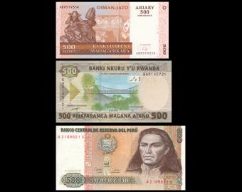 Lot 3 banknotes of 500 : Madagascar-Rwanda-Peru