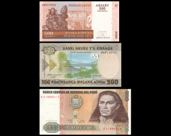 Lot 3 billets de 500 : Madagascar-Rwanda-Pérou