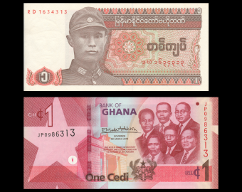 Lot of 2 banknotes : Myanmar-Ghana