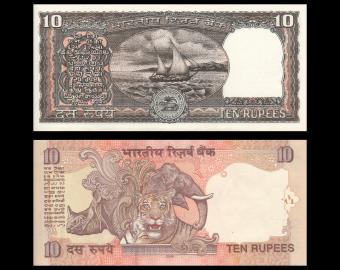 Lot 2 billets de banque de 10 roupies indiennes