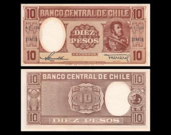 Chile, P-120a, 10 pesos, 1958, SPL / A-UNC