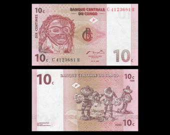 Congo, P-082, 10 centimes,1997