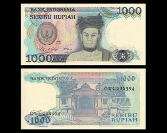 Indonésie, P-124, 1000 rupiah, 1987