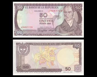 Colombia, P-425b, 50 pesos oro, 1986