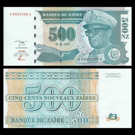 Zaïre, P-65, 500 nouveaux zaïres, 1995