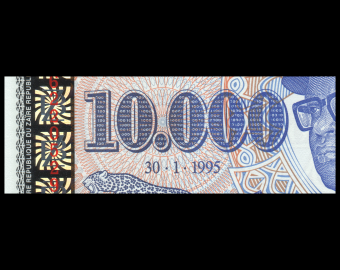 Zaïre, P-70, 10 00 nouveaux zaïres, 1995
