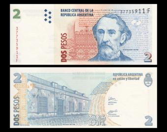 Argentine, P-352c, 2 pesos, 2002