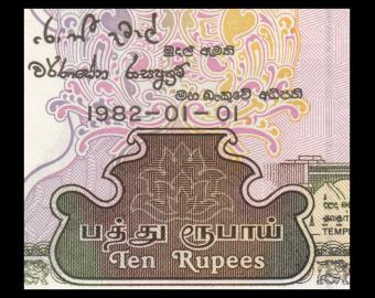 Ceylan, P-092a, 10 roupies, 1982