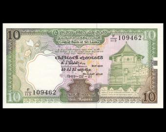Sri Lanka, P-096d, 10 roupies, 1989