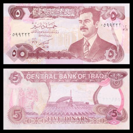 Iraq, P-80c, 5 dinars, 1992