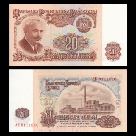 Bulgaria, P-097b, 20 leva, 1974