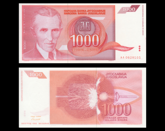 Yugoslavia, P-114, 1 000 dinara, 1992