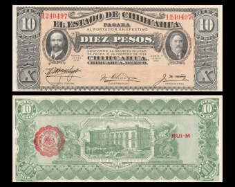 Mexico, State of Chihuahua, P-S535, 10 pesos, 1915, Presque Neuf / A-UNC