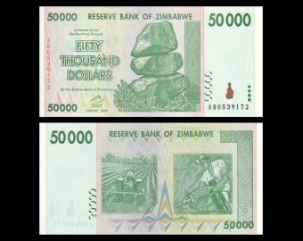 Zimbabwe, P-74a, 50 000 dollars, 2008