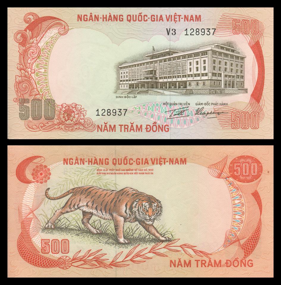 ND 1972 500 dong Vietnam South Pick 33 TIGER aUNC