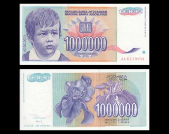 Yugoslavia, P-120, 1.000.000 dinara, 1993
