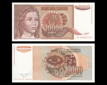 Yugoslavia, P-116b, 10 000 dinara, 1992