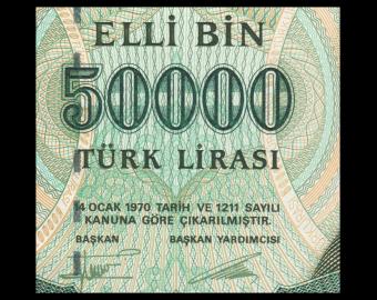 Turkey, P-204, 50 000 lira, 1995