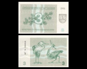 Lithuania, P-33b, 3 talonas, 1991