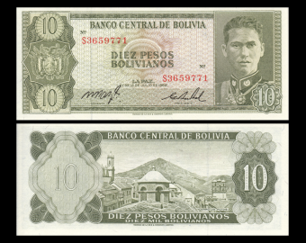 Bolivia, P-154a17, 10 pesos bolivianos, L1962
