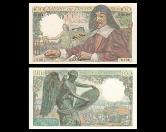 France, P-101a, 100 francs, Descartes, 1944