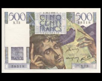 France, P-129a, 500 francs, Chateaubriand, 1946, Presque Neuf / a-UNC