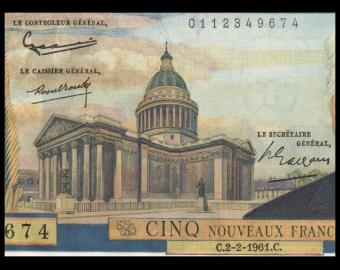 France, P-141a, 5 nouveaux francs, Pasteur,1961