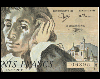 France, P-156h, 500 francs, Pascal, 1990, Neuf / UNC