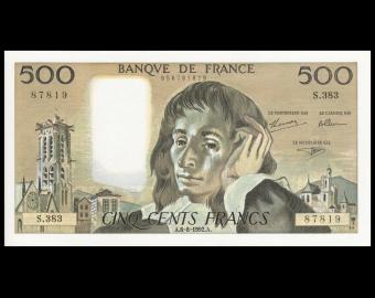 France, P-156i, 500 francs, Pascal, 1992, Neuf / UNC