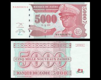 Zaïre, P-69, 5000 nouveaux zaires, 1995