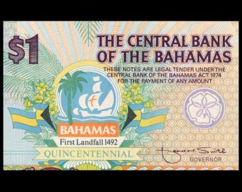 Bahamas, p-50, 1 dollar, 1992