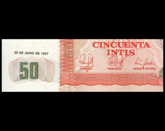 Peru, P-131b, 50 intis, 1987